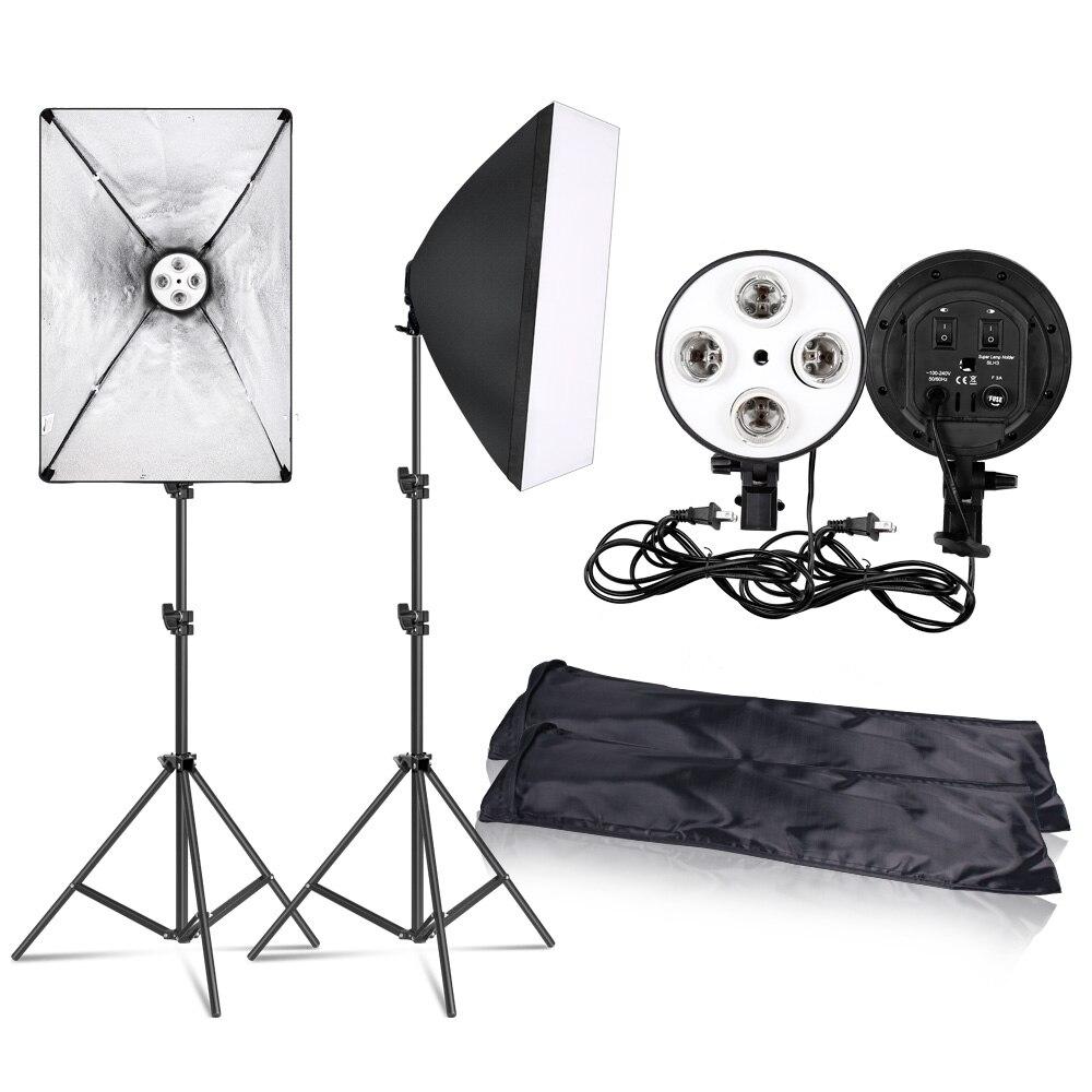 Photographie 50x70CM éclairage quatre lampe Softbox Kit avec support de Base E27 boîte souple accessoires pour appareil Photo Studio Vedio