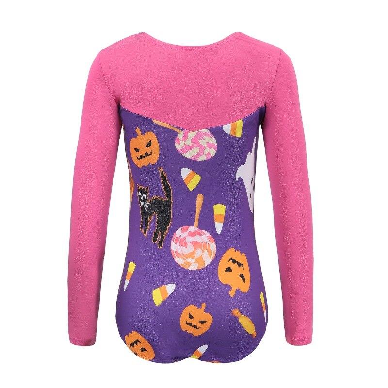 Одежда для танцев с рисунком Тыква Хеллоуин костюм для гимнастики с длинными рукавами для девочек детская одежда для гимнастики