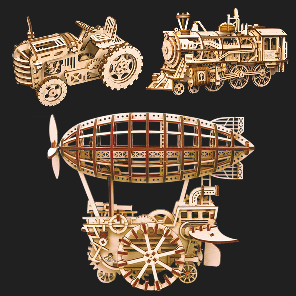 DIY 3D Puzzle 4 Kinds Wooden Toys Laser Cutting 3D Mechanical Model Assembly Puzzles for Children Puzzle Toy Wooden Puzzles Toy