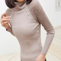 Autumn Winter New Fashion Turtle Neck Button Lace Tricotado Women Sweater Slim Pullovers Casual Knitted Knitwear