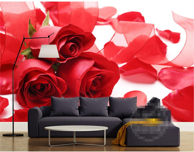 Us 13 76 26 Off Customizable Photo 3d Hd Romantic Red Rose Love Heart Flowers Mural Background Bedroom Tv Living Room Warm Wall Home Decor In