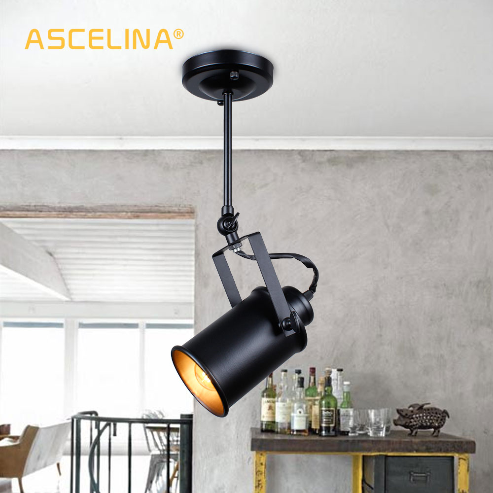 Suspension industrielle Vintage Loft suspension Spotlights Pendentif américain Lampe LED Lampe Restaurant café bar décoration