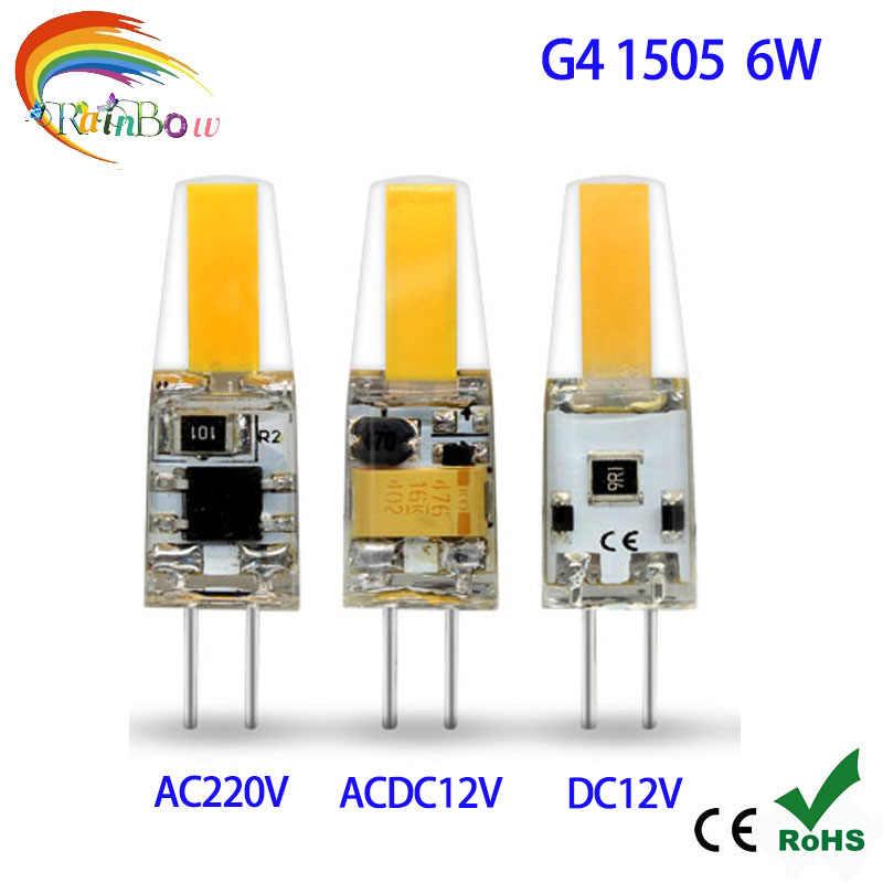 5 unids/lote g4 led 3W 5W 6W 8W 12W cob led 12v SMD 3014 bombilla AC 220V G4 bombilla led para lámparas de araña de cristal reemplazar 30w lámpara halógena