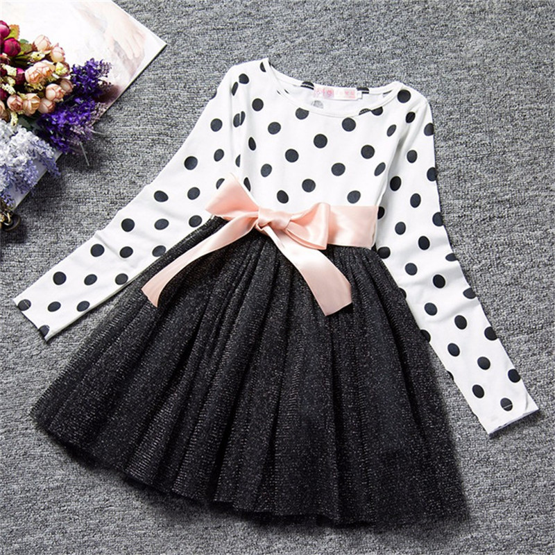 2018 Autumn Winter Girl Dress Long Sleeve Polka Dot Girls Dresses Bow Princess Teenage Casual Dress 8 Years Children Clothes polka dot slit hem contrast dress