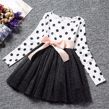 2018 Autumn Winter Girl Dress Long Sleeve Polka Dot Girls Dresses Bow Princess Teenage Casual Dress 8 Years Children Clothes(China)