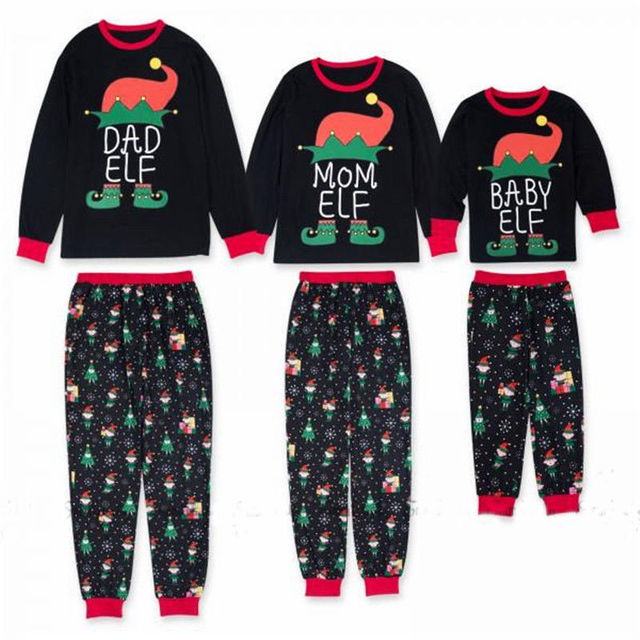 53ce5eabf8 Family Matching Christmas Elf Pajamas Set Adult Kid Long Sleeve Letter  Print Sleepwear Nightwear Pyjamas Set