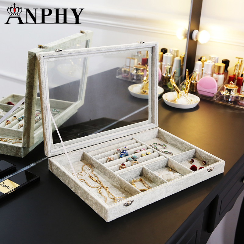 ANFEI New Mixed Jewelry Box Tray Necklace/Ring/Earrings/ Display Box Velvet Jewelry Organizer Box Bead Container Storage A255-11ANFEI New Mixed Jewelry Box Tray Necklace/Ring/Earrings/ Display Box Velvet Jewelry Organizer Box Bead Container Storage A255-11