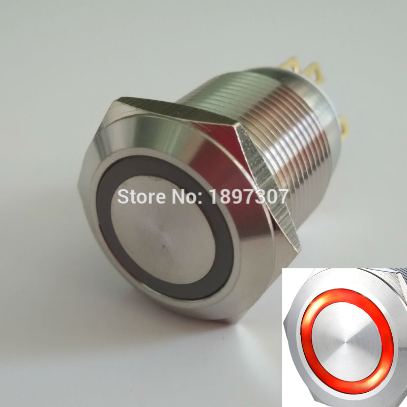 Us 74 4 7 Off 20 Pieces 19mm Illuminated Momentary Anti Vandal Push On Electric Switch Made Of Stainless Steel Dia In Switches From