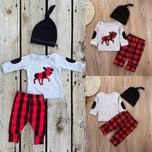 Newborn Baby Boy Girls  GreyTops T-shirt  Red Plaid Pants Beanie Hat 3pcs Outfits Set