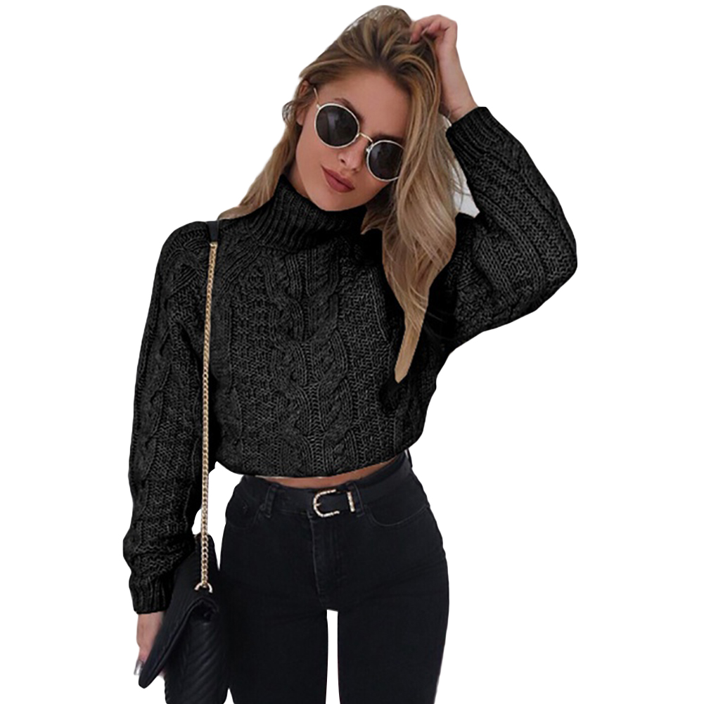 Short Style Winter Turtle Neck Sweater Solid Color Women Fashion Braided Jumper