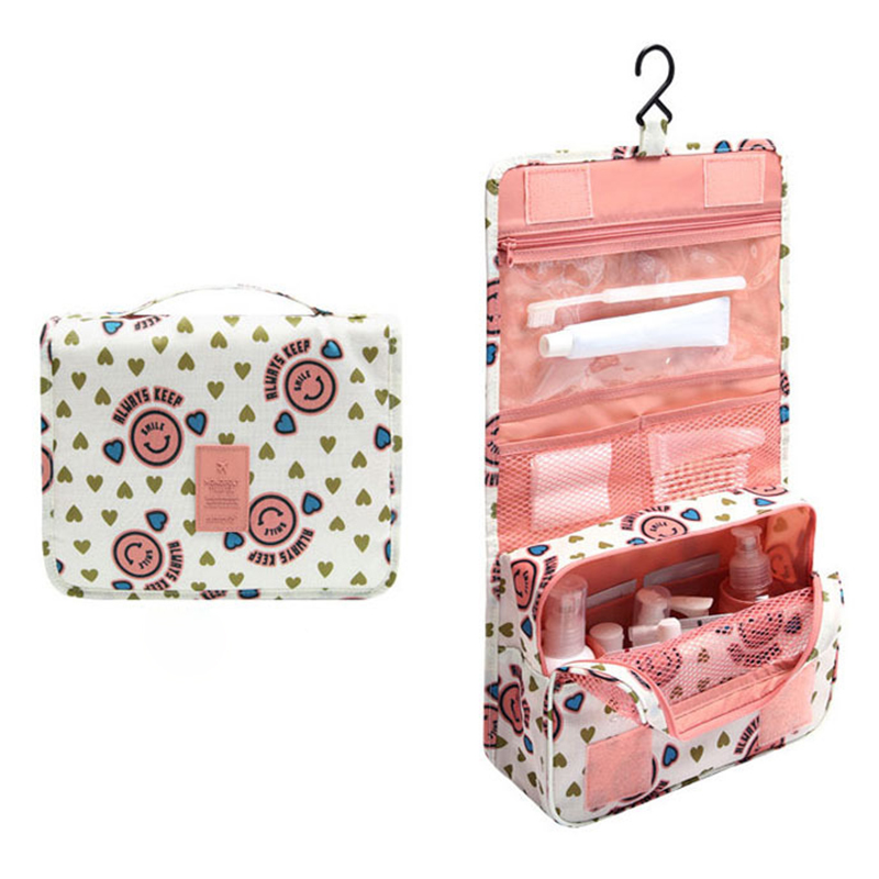 2017 Women Waterproof Portable Cosmetic Bag Hanging MeshTravel Toiletry Storage Purse Organizer Makeup Pouch Free Shipping F416