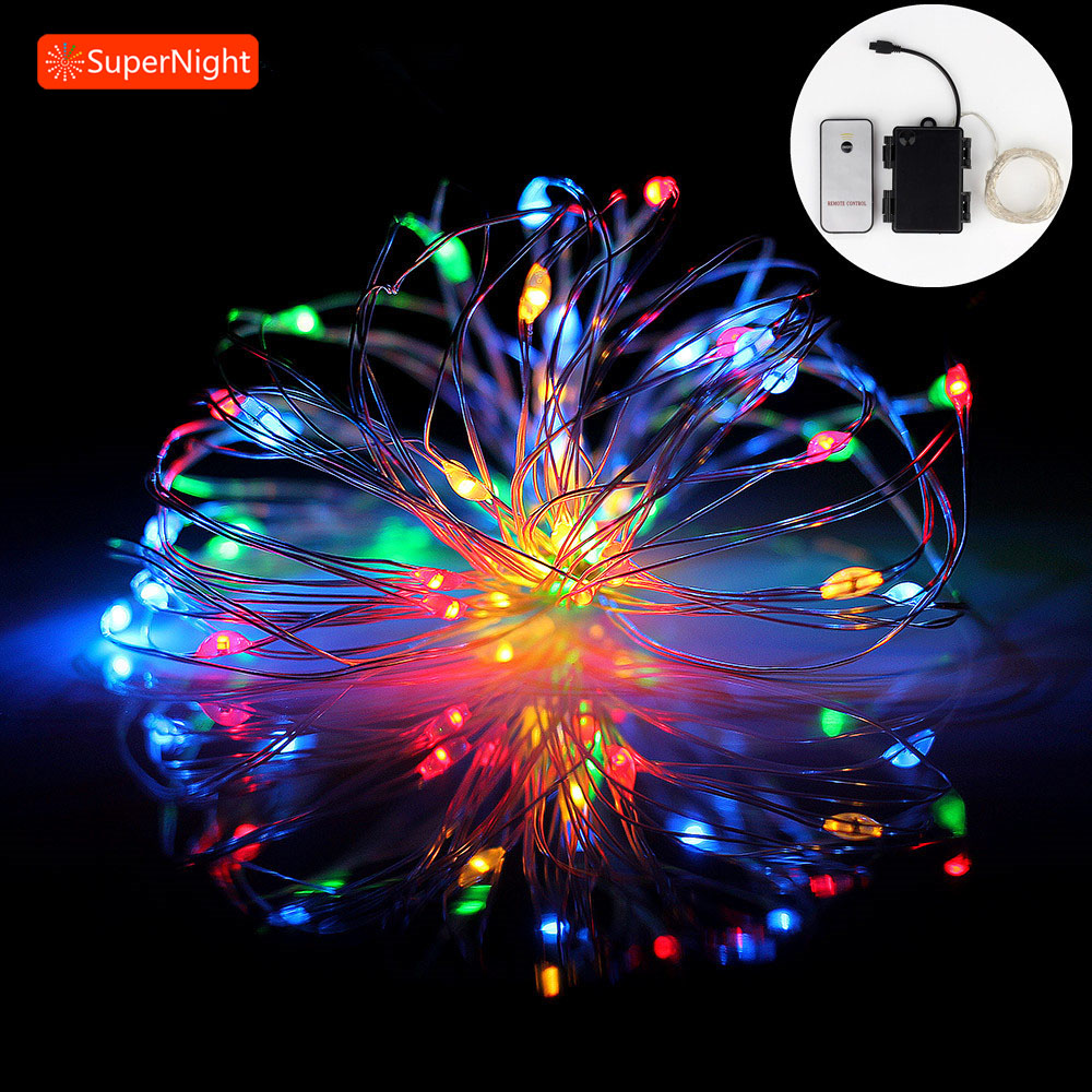 SUPERNIGHT 5M 50LEDs Copper Wire LED String Light Timer Colorful Battery Powered Outdoor Christmas Lights with Remote Controller