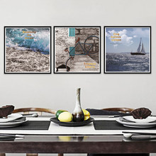 nordic posters and prints large seascape image on the wall sea beach canvas art painting wall pictures for living room PP997(China)