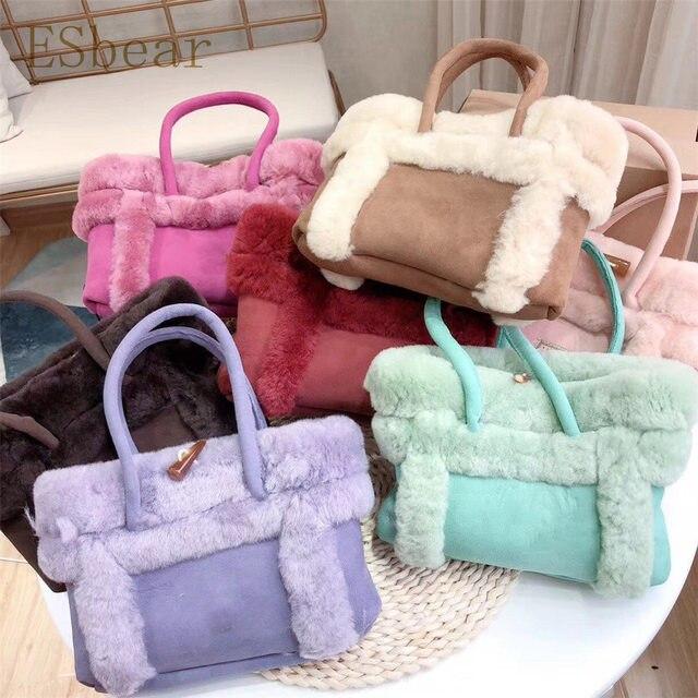 Esbear Top Australia Sheepskin Leather Handbags Winter Warm Wool Fur  Women s Bags 2019 New Casual Female Bags Luxury Brands Bags 14eb7485438d6