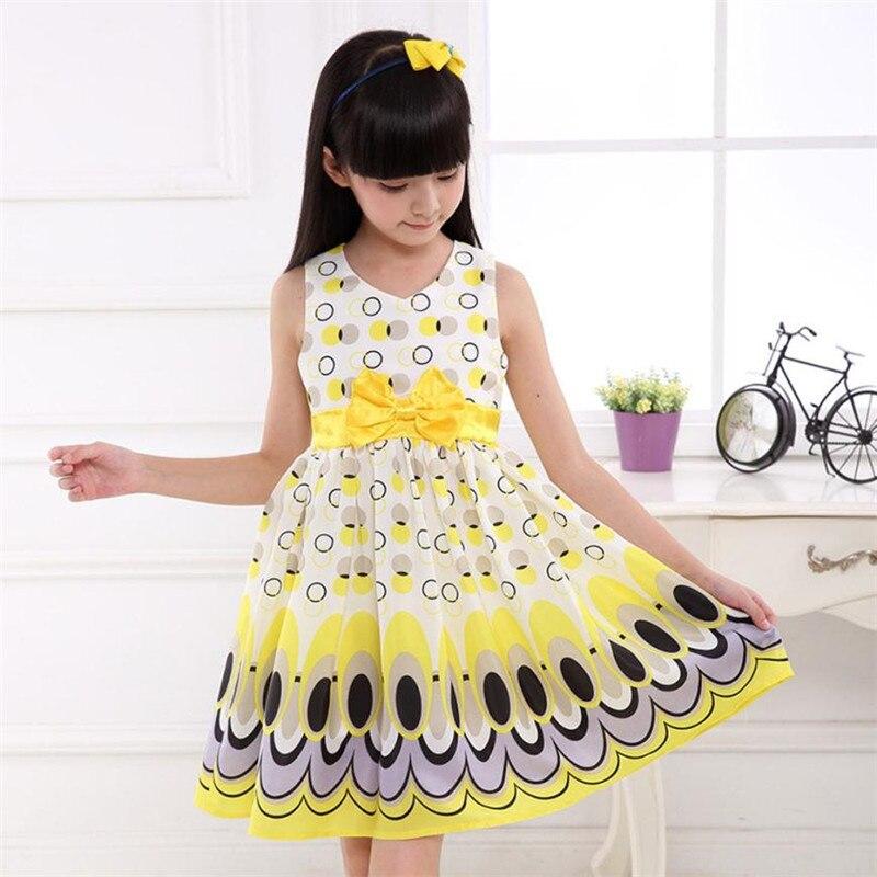 7f1754e47 Kids Girls Bow Belt Sleeveless Bubble Peacock Dress Party Clothing ...