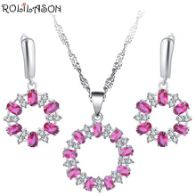ROLILASON pink round crystal zircon 925 silver set earrings / necklace / pendant / high-end exquisite gift JS797 boutique gift brush set red sandalwood bar luozhiyunyan high end cents exquisite gifts