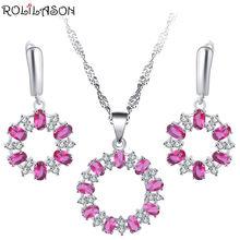 Roilason Розовый Круглый Кристалл Циркон набор серьги/ожерелье/Подвеска/Высококачественный