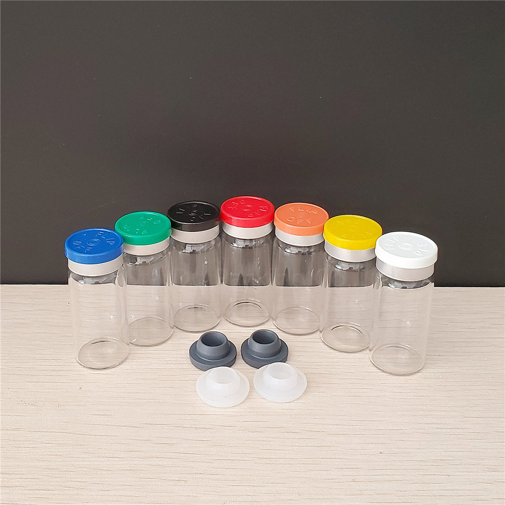 10ml clear glass vials with flip off caps & rubber stoppers, 1/3 oz injection glass bottle, pharmaceutical bottle 1000pcs