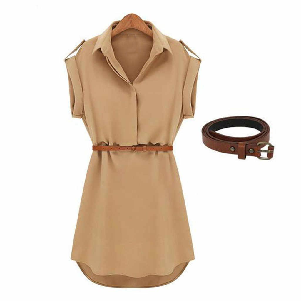 Femmes décontracté été chemise robe d'été 2019 robe à manches courtes en vrac avec ceinture col rabattu automne robe Vestidos #20