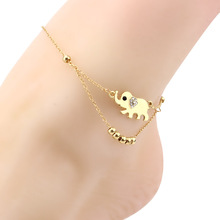 Bijoux New 2017 Fashion Love Metal Beads Lucky Elephant Chain Bracelets Anklets For Women Charm Foot Jewelry Gift Wholesale