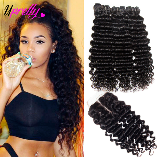 Upretty Hair Brazilian Hair Weave Bundles With Closure 3 Bundle With Lace Closure Remy Human Hair Deep Wave Bundles With Closure by Upretty