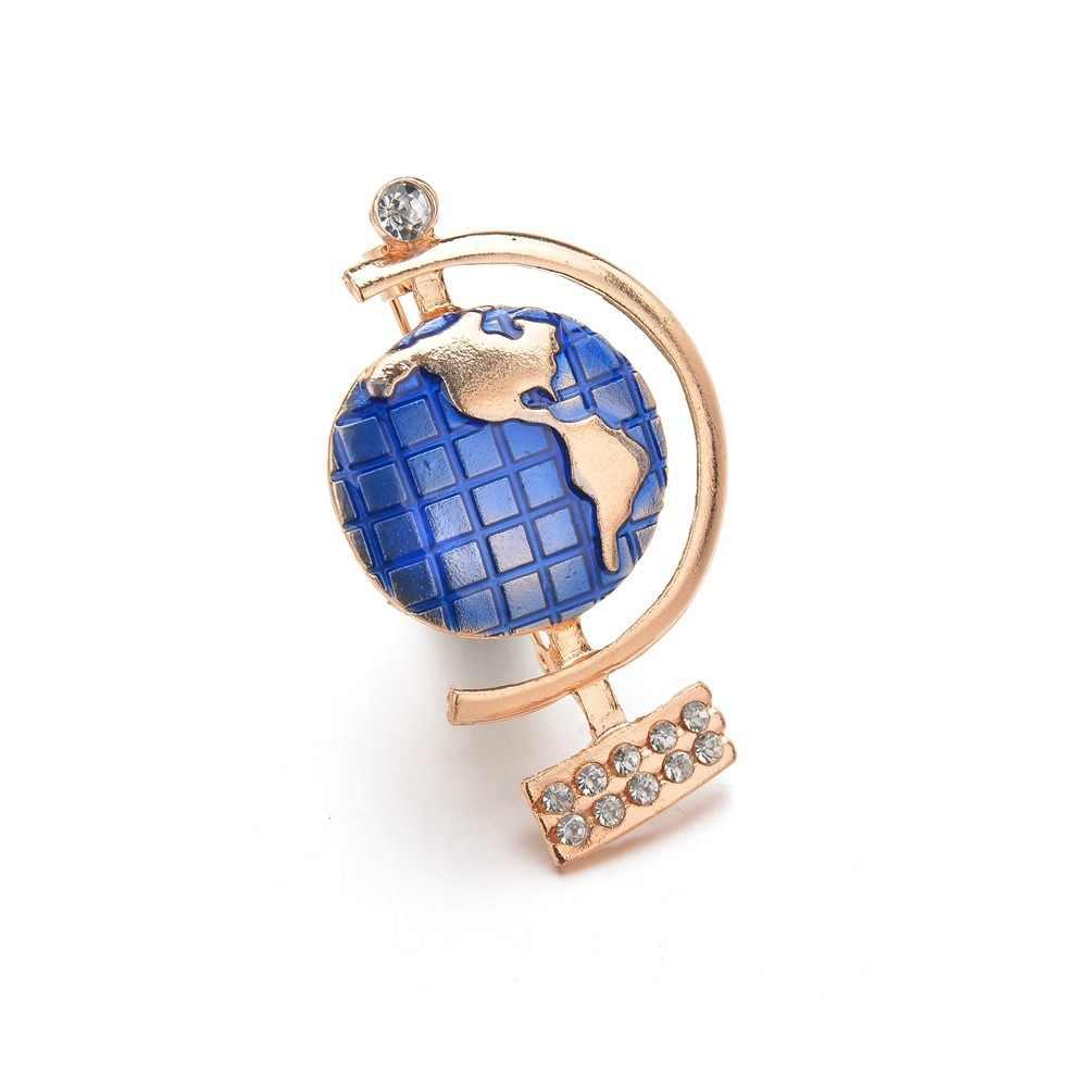 Alta Qualidade Esmalte Azul Globo de ouro Broche Pin Badge melhores Presentes para Mulheres Moda Rhinestone Broches Acessórios Vestido De Terno