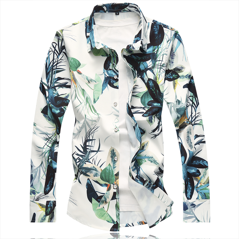 the new male elastic digital printing of 2018 autumn winters fertilizer plus-size long-sleeved men shirt C111p60 flower