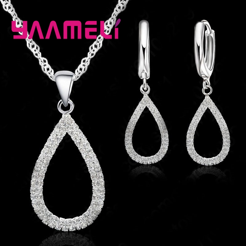 Shiny 925 Sterling Silver Cubic Zircon Earring Necklace Jewelry Sets Drop Shaped Pendant Wedding Party Jewelry