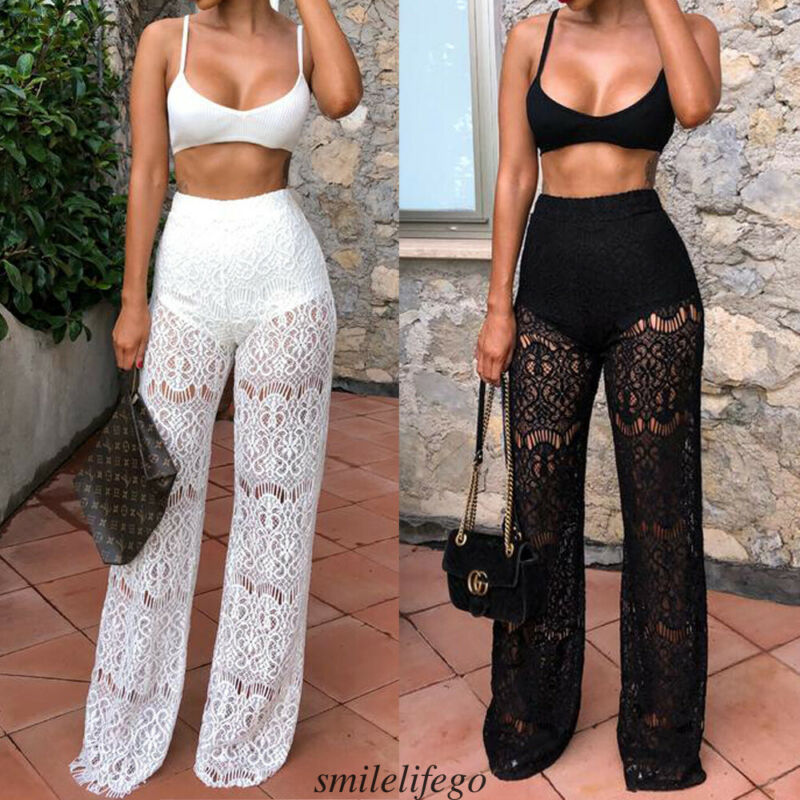 2020 Summer Outfits Set Sexy Womens Crop Top Lace Pants Two Piece Playsuit Long Jumpsuit Bodysuit Romper Wear Clubwear Clothes