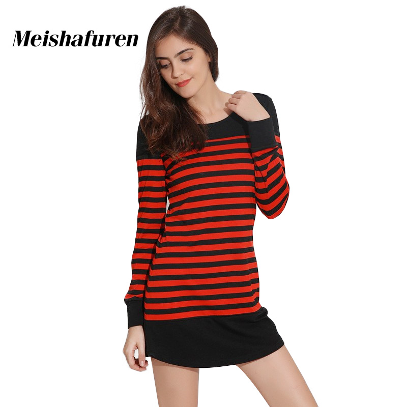 Donna Autumn Women Red Black Striped Dress Mini Dress Female Long
