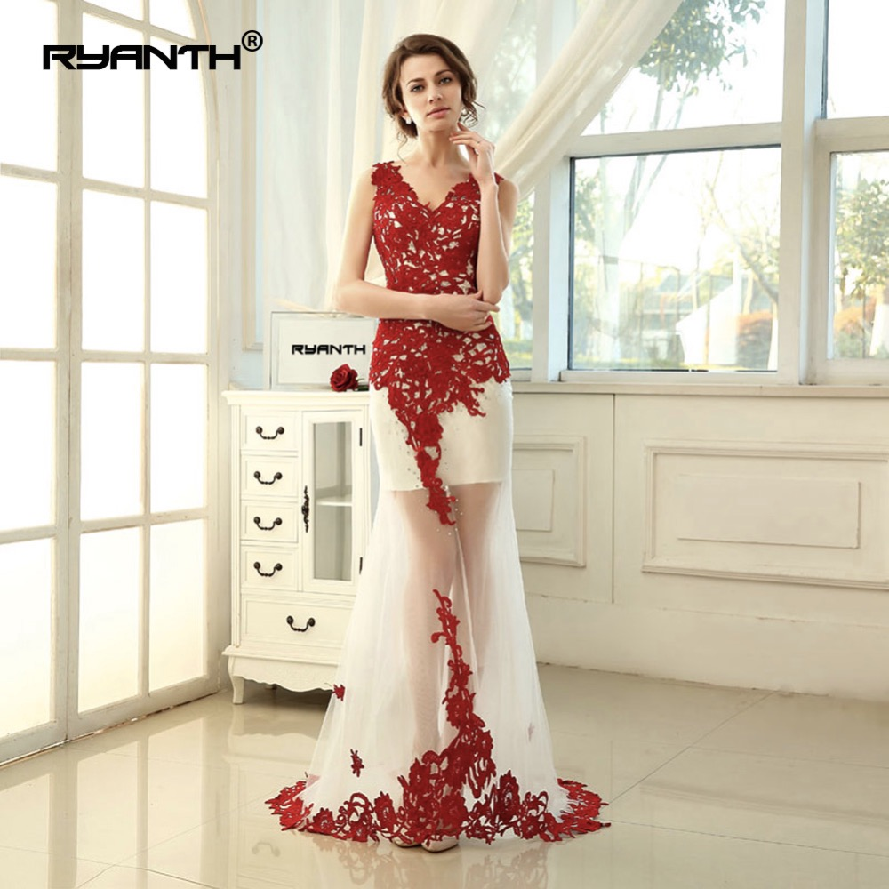 Ryanth Lace Red Evening Dress Long V Neck Applique Mermaid Evening Party Dress With Long Train Sexy See Through Formal Prom Gown