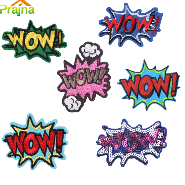 Design Letter Wow Patch Stickers Cartoon Embroidered Patches For Kids Cool Jeans Patch Applique Funny