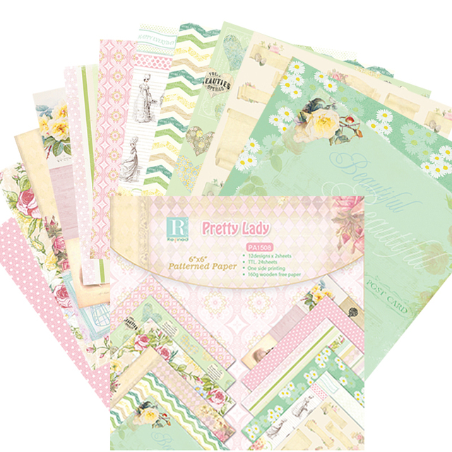 """DIY Photo Album Pretty Lady Scrapbooking Decorative Papers  Paper Origami Art Background Paper Card Making 6""""x 6""""  24 sheets"""