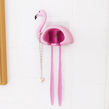 1pcs Flamingo Sucker 2 Position Toothbrush Holder Suction Hooks Bathroom Accessories Family Set Wall