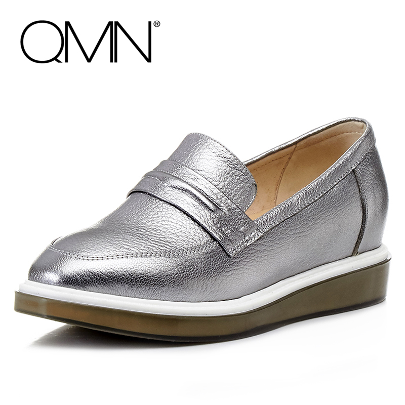 ФОТО QMN women metallic textured leather loafers Women Round Toe Slip On Flat Casual Shoes Woman Transparent Soles Leather Flats