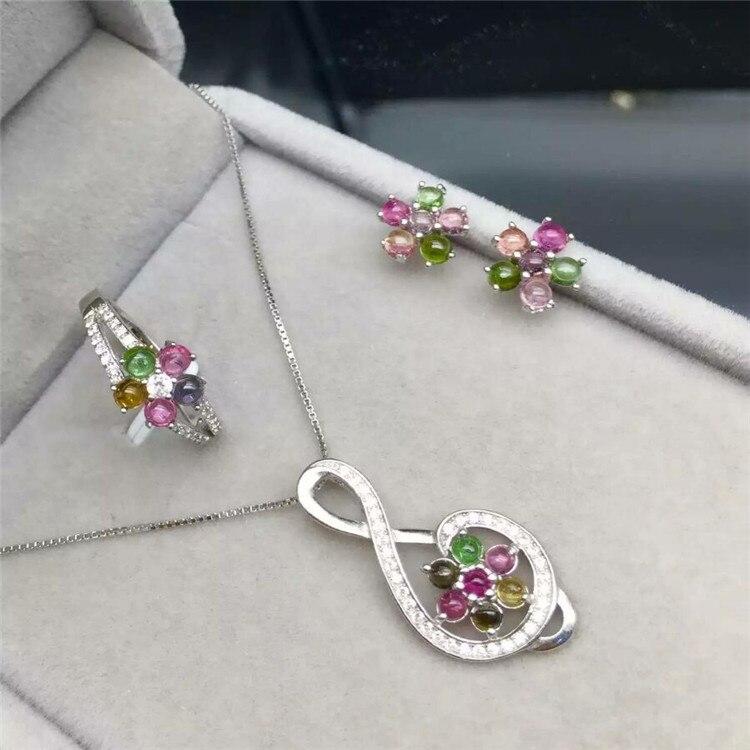 Natural tourmaline set 925 inlaid natural gemstone ring + Pendant Necklace
