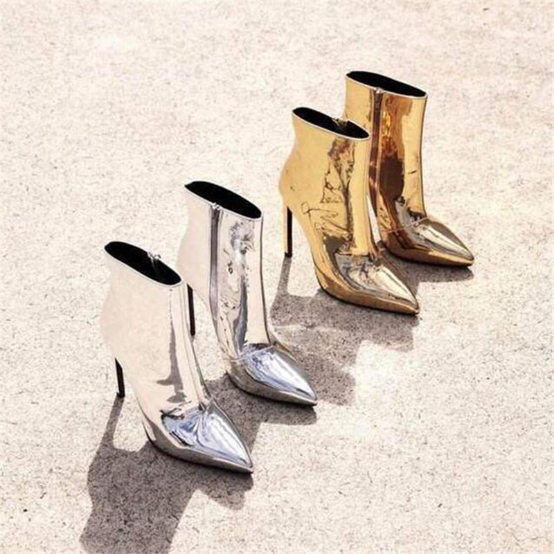 Big Size 45 Spring Fashion Sheepskin Mirror Women Boots Pointed Toe High Heels Ankle Boots Women Pumps Ladies Shoes Woman Botas 2017 new spring autumn big size 11 12 dress sweet wedges women shoes pointed toe woman ladies womens