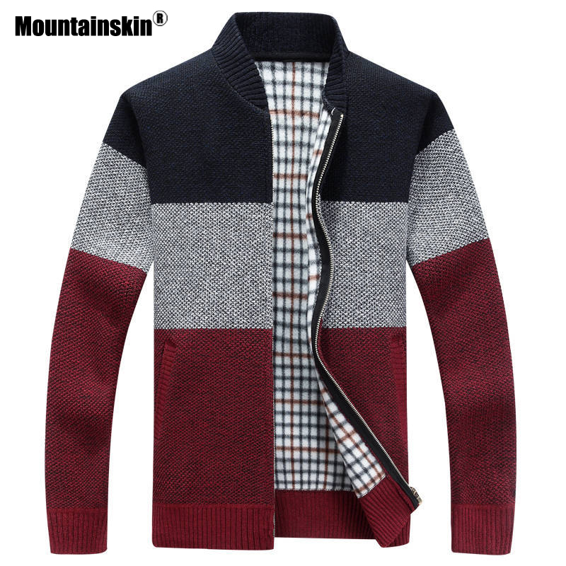 Mountainskin 2020 New Winter Men's Jackets Thick Cardigan Coats Mens Brand Clothing Autumn Gradient knitted Zipper Coat SA580