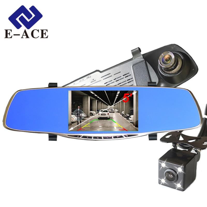 Nova Full HD 1080 P Câmera Do Carro Dvr Avtoregistrator 5 Polegada Espelho Retrovisor Secretário Filmadora Digital Gravador de Vídeo de Lente Dupla
