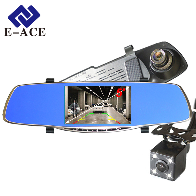 все цены на E-ACE Full HD 1080P Car Dvr Camera Avtoregistrator 5 Inch Rearview Mirror Digital Video Recorder Dual Lens Registrar Camcorder онлайн