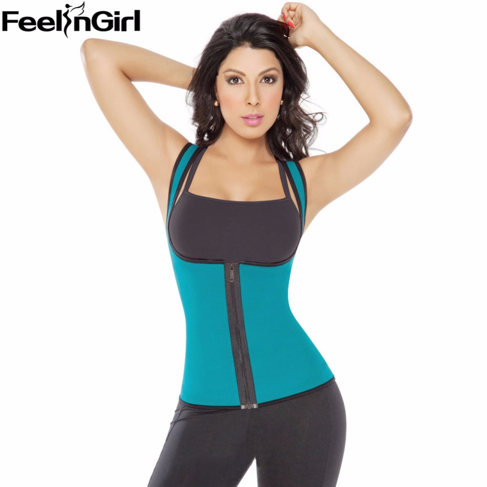 FeelinGirl Tummy Control Slim Waist Body Shaper Zip Corset Vest Reversible Neoprene Slimming Waist Belt Weight