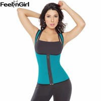 FeelinGirl Tummy Control Slim Waist Body Shaper Zip Corset Vest Reversible Neoprene Slimming Waist Belt Weight
