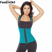 FeelinGirl Tummy Control Slim Waist Body Shaper Zip Corset Vest Reversible Neoprene Slimming Waist Belt Weight Loss Shapewear -E