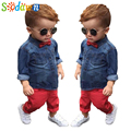 Sodawn Brand 2017 Summer New Soft And Thin Denim Shirt Top + Red Full Length Pants Suit Children Clothing Set Kids Clothes