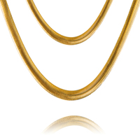 18k Gold 29 5inch Snake Chain Stamped Customized Jewelry Statement Necklace For Men Women For Gift