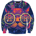 2017 S-5XL Creative 3D Print sweatshirt Cool Cat with Glasses Men Sweatshirt Pullover Fashion Wear Moletom