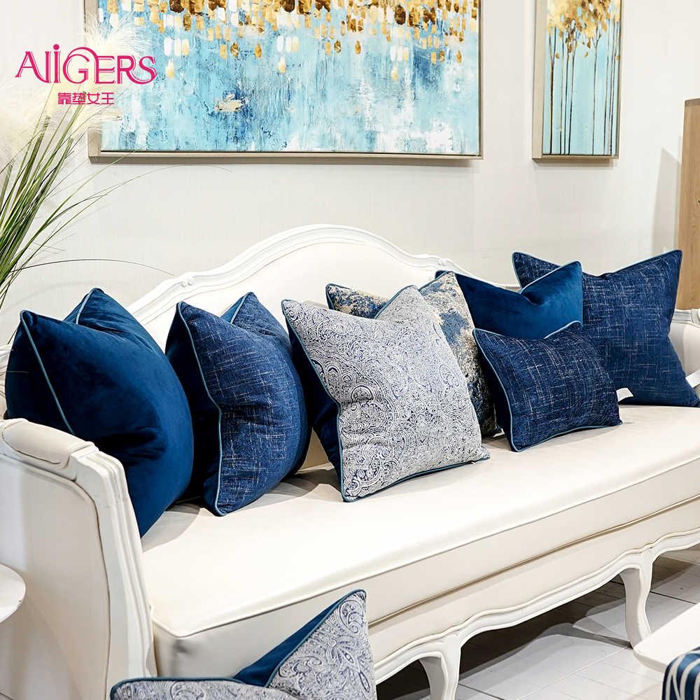 Blue Gray Cyan Decorative Pillows