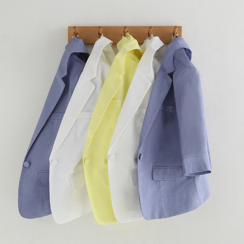 Women Blazers And Jackets Summer New Style Fashion Seven-point Sleeve Office Ladies Casual Suit Short Cotton Blazer