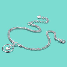 Fashion women's 925 sterling silver anklets cute the circular pendant lady popular foot jewelry Solid silver foot chain 27cm