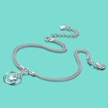 Mujeres de la manera 925 tobilleras de plata lindo colgante circular lady popular joyería de pie Sólido cadena de pie de plata 27 cm